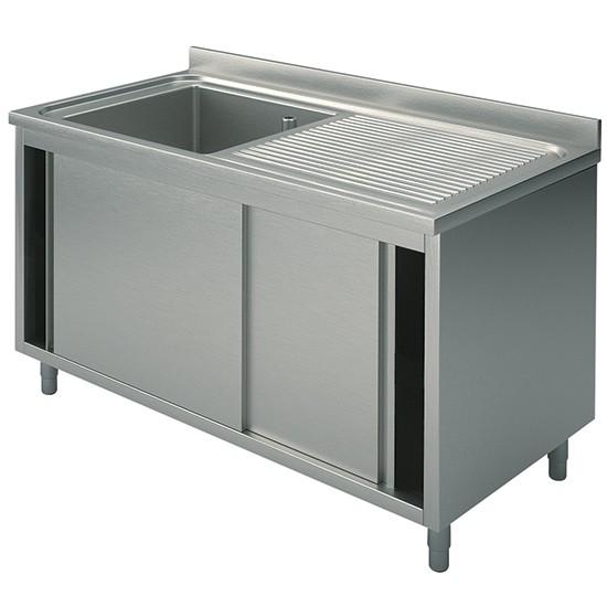 Plonge 1 cuve sur armoire avec portes wla1cgd610 for Machine plonge professionnel