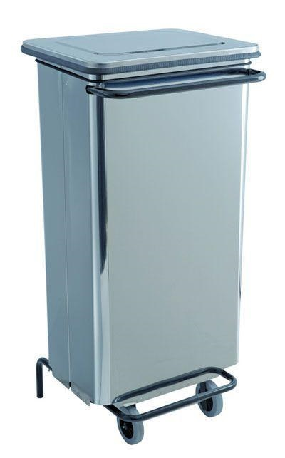 poubelle rectangulaire avec pedale sur roulettes 100l bin100ss mat riel horeca professionnel. Black Bedroom Furniture Sets. Home Design Ideas
